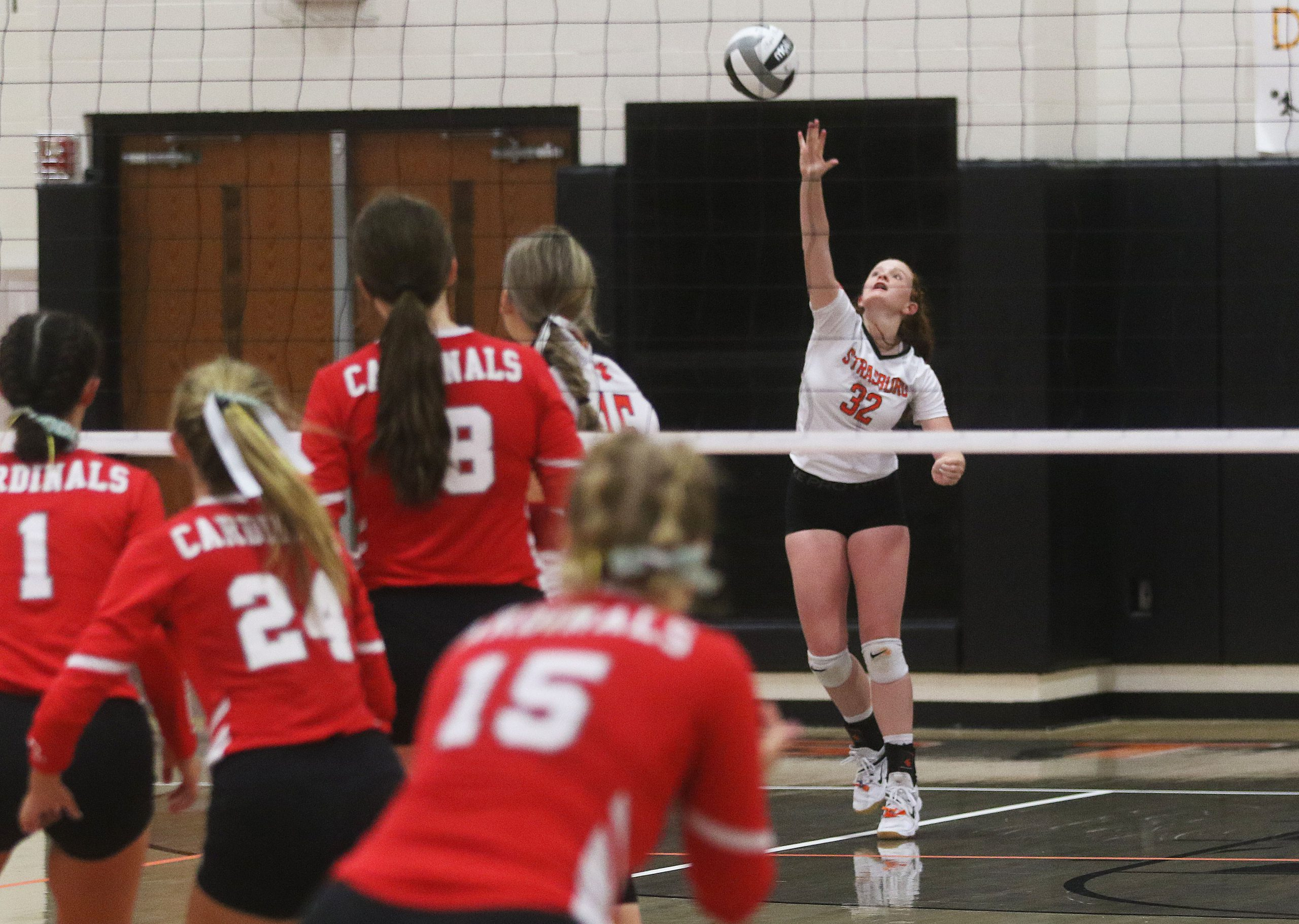 Maddy Edwards of Strasburg serves in game 4 of the volleyball match with Sandy Valley Thursday. The Lady Tigers won the match in 4 games. (JMN Sports/ Jim Cummings)